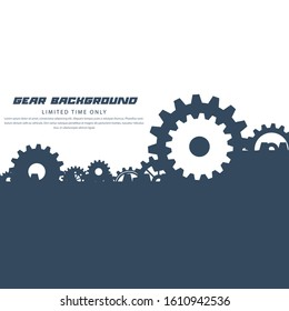 Abstract techno gear background with geometric colorful gear wheels. Space for gear text. Vector gears modern mechanism industrial concept. Technology gears background. Gears Vector illustration