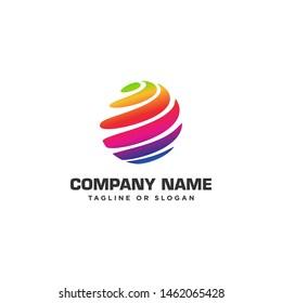 Abstract techno globe logo design concept