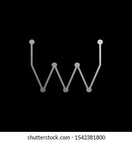 Abstract Techno Line Resistor letter M, WM, MW logo icon, Creative design concept techno resistor line silver color for business.