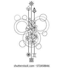 Abstract techno pattern with cherry flowers on white background. Modern tattoo, textile print, coloring page.