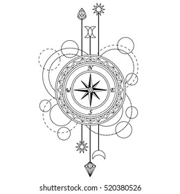 Abstract techno pattern with compass and geometric elements on white background. Modern tattoo symbol. Coloring page