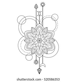 Abstract techno pattern with mandala and geometric elements on white background. Tattoo modern symbol