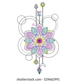 Abstract techno pattern with mandala and geometric elements on white background. Tattoo modern symbol with vector watercolor effect.
