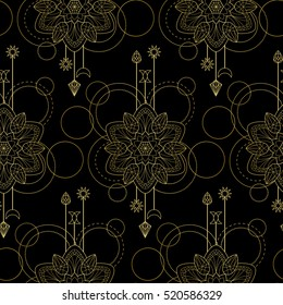 Abstract techno seamless pattern with gold mandala and geometric elements on black background