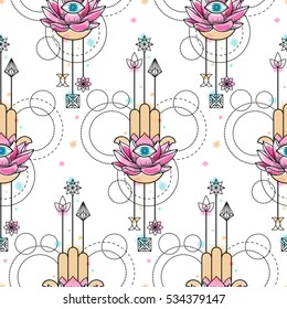 Abstract techno seamless pattern of hand of Fatima, lotus and eye with geometric elements on white background. Tattoo wallpaper with watercolor effect.