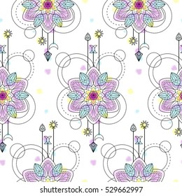 Abstract techno seamless pattern with mandala and geometric elements on white background. Modern wallpaper with vector watercolor effect.