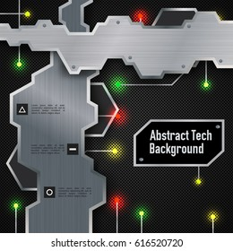 Abstract technologic background with metal plates and colorful electric lights on dark grid vector illustration