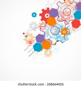 Abstract technological background with cogwheels. Vector
