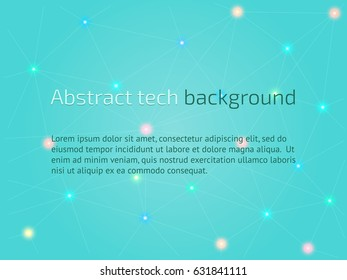 Abstract technological background. High tech business template. Vector illustration in turquoise color.
