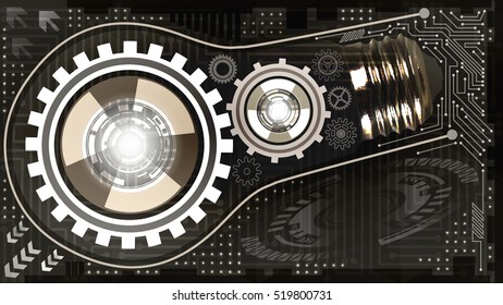 Abstract technological background with light bulb, gears and microchip of black, grey, white and brown shades. Concept of light bulb with gears inside mechanism. Business background