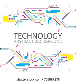 Abstract technological background with various elements. CMYK concept. Vector