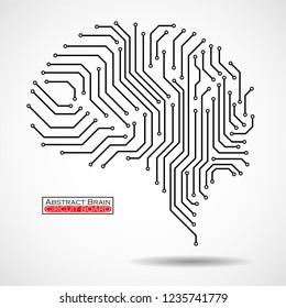 Abstract technological brain. Circuit board. Vector illustration. Eps 10
