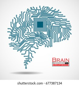 Abstract technological brain. Cpu Circuit board. Vector illustration. Eps 10