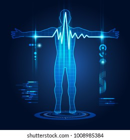 abstract technological health care; science interface of health analysis; pulse symbol in futuristic style