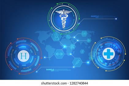 abstract technological health care; science blue print; scientific interface; futuristic backdrop; digital blueprint of human; 3D body part of human,icons health vector illustration.