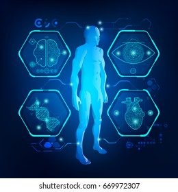 abstract technological health care; science interface; digital blueprint of human; 3D body part of human