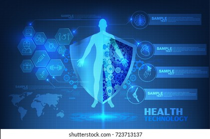 abstract technological health care; science blue print; scientific interface; futuristic backdrop; digital blueprint of human; 3D body part of human, icons health vector illustration.