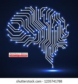 Abstract technological neon brain. Circuit board. Vector illustration. Eps 10