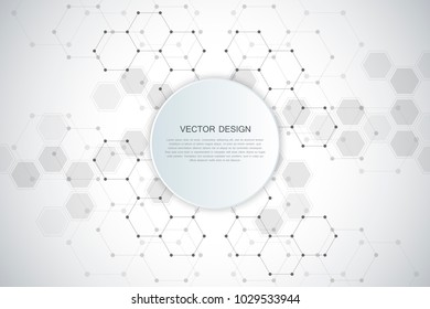 Abstract technological and scientific background with hexagonal molecules