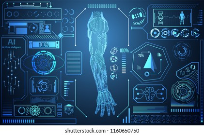 Abstract technology AI arm digital artificial intelligence concept Machine in Human for  treatment about health medical science medicine. Example Arm Machine are linkage with Human Arm. Interface HUD.