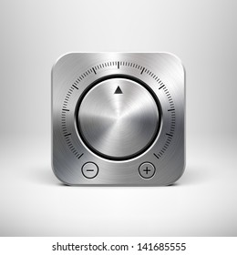 Abstract technology app icon with music button (volume, sound control knob), metal texture (stainless steel, chrome, silver), shadow and light background for web user interfaces (UI) and applications.