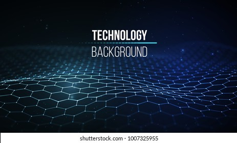 Abstract technology background. Background 3d grid.Cyber technology Ai tech wire network futuristic wireframe. Artificial intelligence . Cyber security background Vector illustration