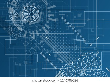 Abstract Technology Background. Blue glowing connections in space with particles, big data, computer generated abstract background. Vector Illustration