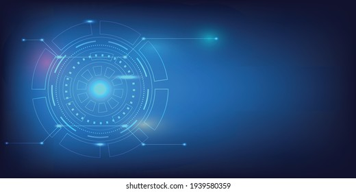 Abstract technology background with Bright circle and shine light within. Database structure concept with line and dot connection. Medical technology template for hospital and lab