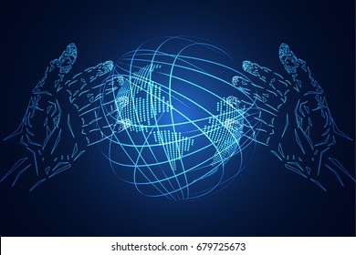 abstract technology background business science consist : hands hi tech blue digital future futuristic, world digital network connection map dot. concept : The world is changing with age.