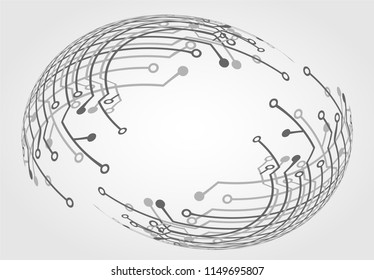 Abstract technology background. circuit board circle hi-tech .white background .vector