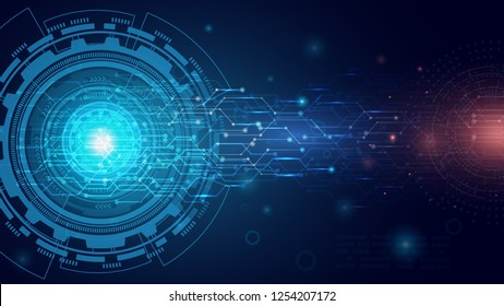 Abstract technology background, circuit board on dark blue color. hi-tech or digital future technology concept. vector illustration.