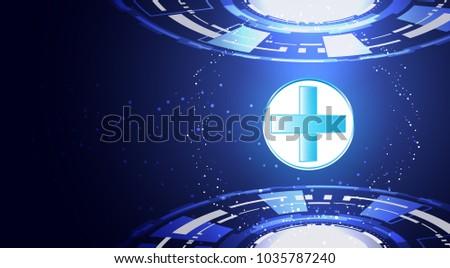 Abstract Technology Background Concept Health Plus Circle Medical Medicine Wallpaper Blue Digital Hi Tech Future