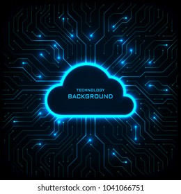Abstract technology background. Cyber security concept. Cloud technology on digital circuit board vector illustration.