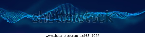 Abstract technology background. Cyber technology wire network futuristic wave. Artificial intelligence vector illustration.