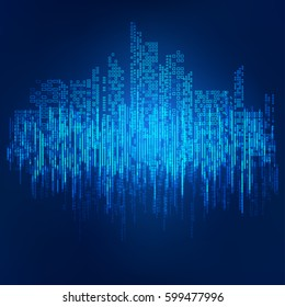 abstract technology background; digital building in matrix style; binary city of blue light,