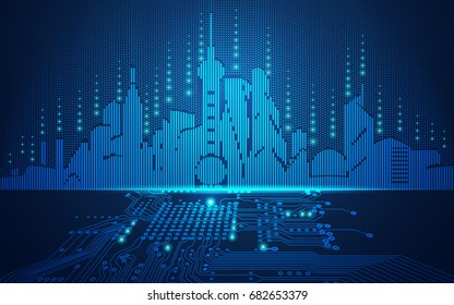 abstract technology background; digital building in a matrix style; futuristic city combined with electronic board