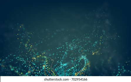 Abstract technology background. Digital tech 3d vector grid with particles noise wave