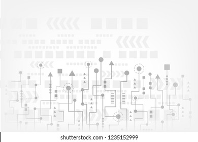 Abstract technology background with futuristic circuit board and geometric polygonal. Hi-tech concept. Grey abstract vector design, Space for text