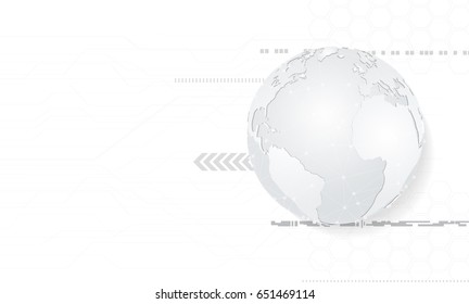 Abstract technology background and global network concept with various technological elements.Vector illustration