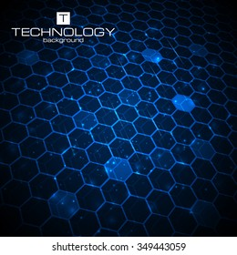 Abstract technology background, hexagonal template. Vector illustration for your business artwork.