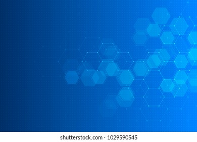 Abstract technology background with hexagons and molecules