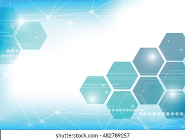 Abstract technology background with hexagons.Creative digital Hi-tech art template.Graphic network connect business.Design internet future decoration element.Minimal blue modern.vector illustration