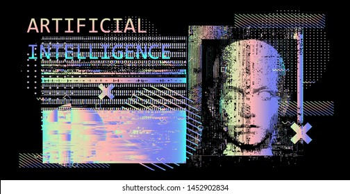 Abstract technology background with human face mask and glitch art elements. Conceptual vector illustration for AI (artificial intelligence), Face recognition, mechatronics and robotics topics.