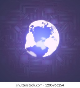 Abstract technology background. Including futuristic glowing earth globe and microscheme elements.Used a clipping mask.