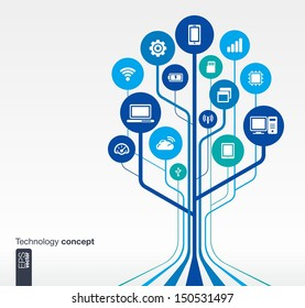Abstract technology background with lines, circles and icons. Growth tree (circuit) concept with mobile phone, technology, laptop, cloud computing, usb, pad and router icons. Vector illustration.