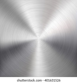 Abstract technology background with polished, brushed circular metal texture, chrome, silver, steel, aluminum for design concepts, web, prints, posters, wallpapers, interfaces. Vector illustration.