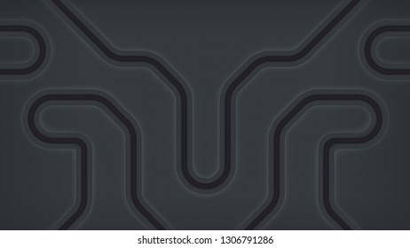 Abstract technology background representing network of pipes or circuitry. Dark backdrop design with curvilinear tubes