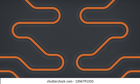 Abstract technology background representing network of pipes or circuitry. Dark backdrop design with luminous curvilinear tubes