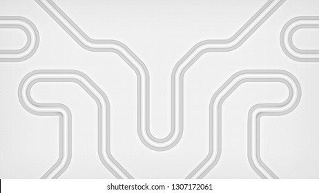 Abstract technology background representing network of pipes or circuitry. Light backdrop design with curvilinear tubes