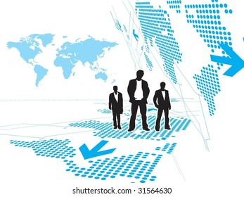 Abstract Technology background with standing businessman . Vector illustration.